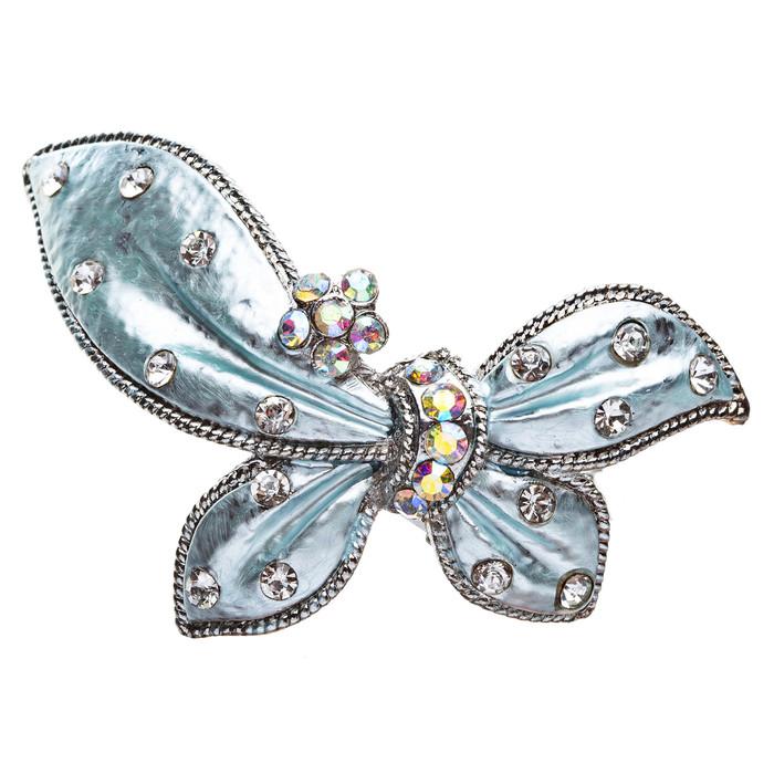 Austrian Crystal Hair Clips Barrette Butterfly Blue