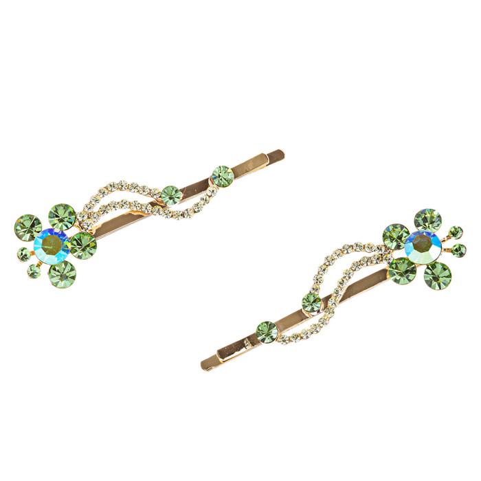 Austrian Crystal Hair Clips (Pair) Jewelry Green