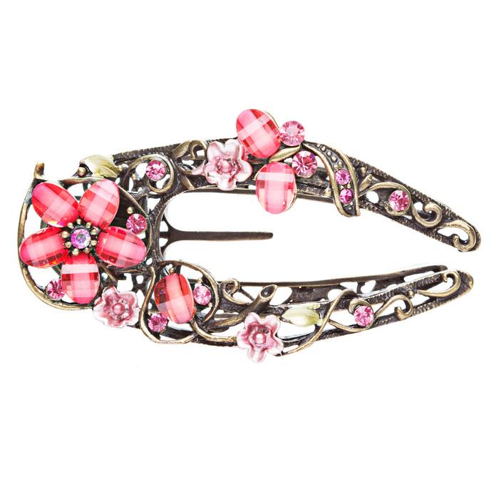 Austrian Crystal Woman Hair Pin Clip Floral Pink NEW