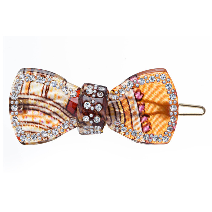 Woman Fashion Hair Clip Floral Ribbon Gold NEW 2x1, lead compliant
