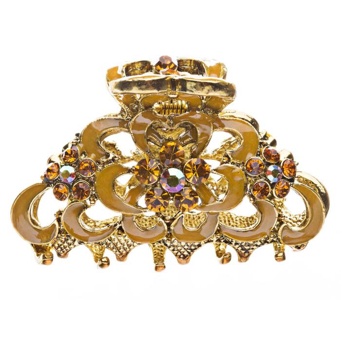 Austrian Crystal Hair Claw Clip Jewelry Yellow