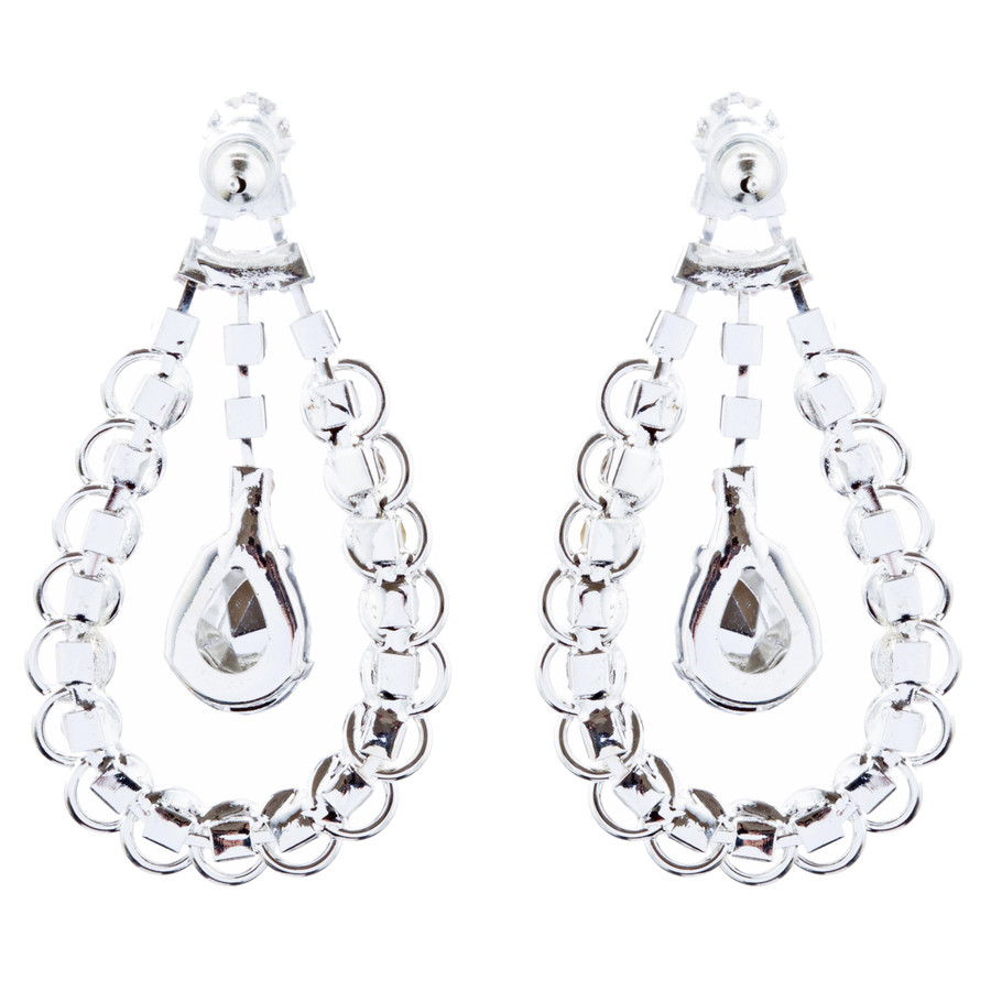 Bridal Wedding Jewelry Crystal Rhinestone Lovely Dangle Earrings E1030 Silver