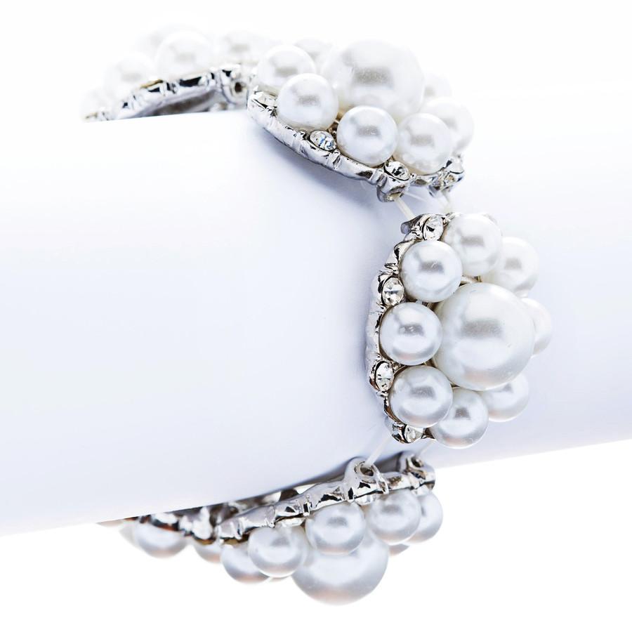 Bridal Wedding Jewelry Gorgeous Crystal Pearl Flower Stretch Bracelet Silver WT