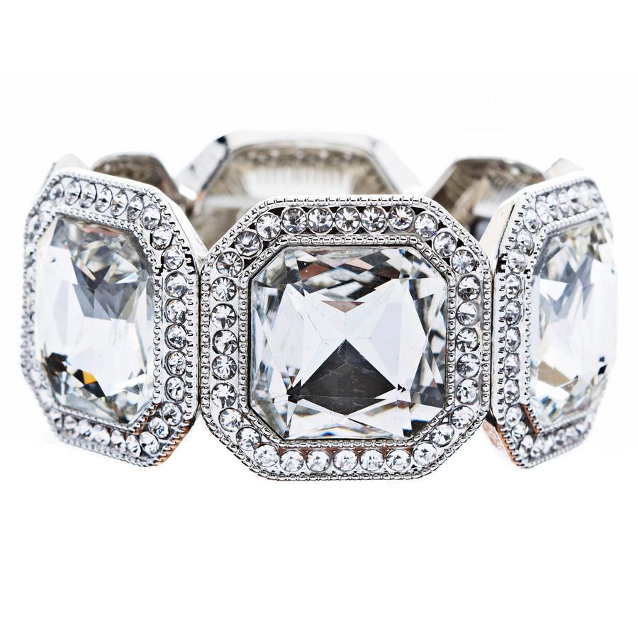 Bridal Wedding Jewelry Dazzle Octagon Crystal Rhinestone Stretch Bracelet Silver