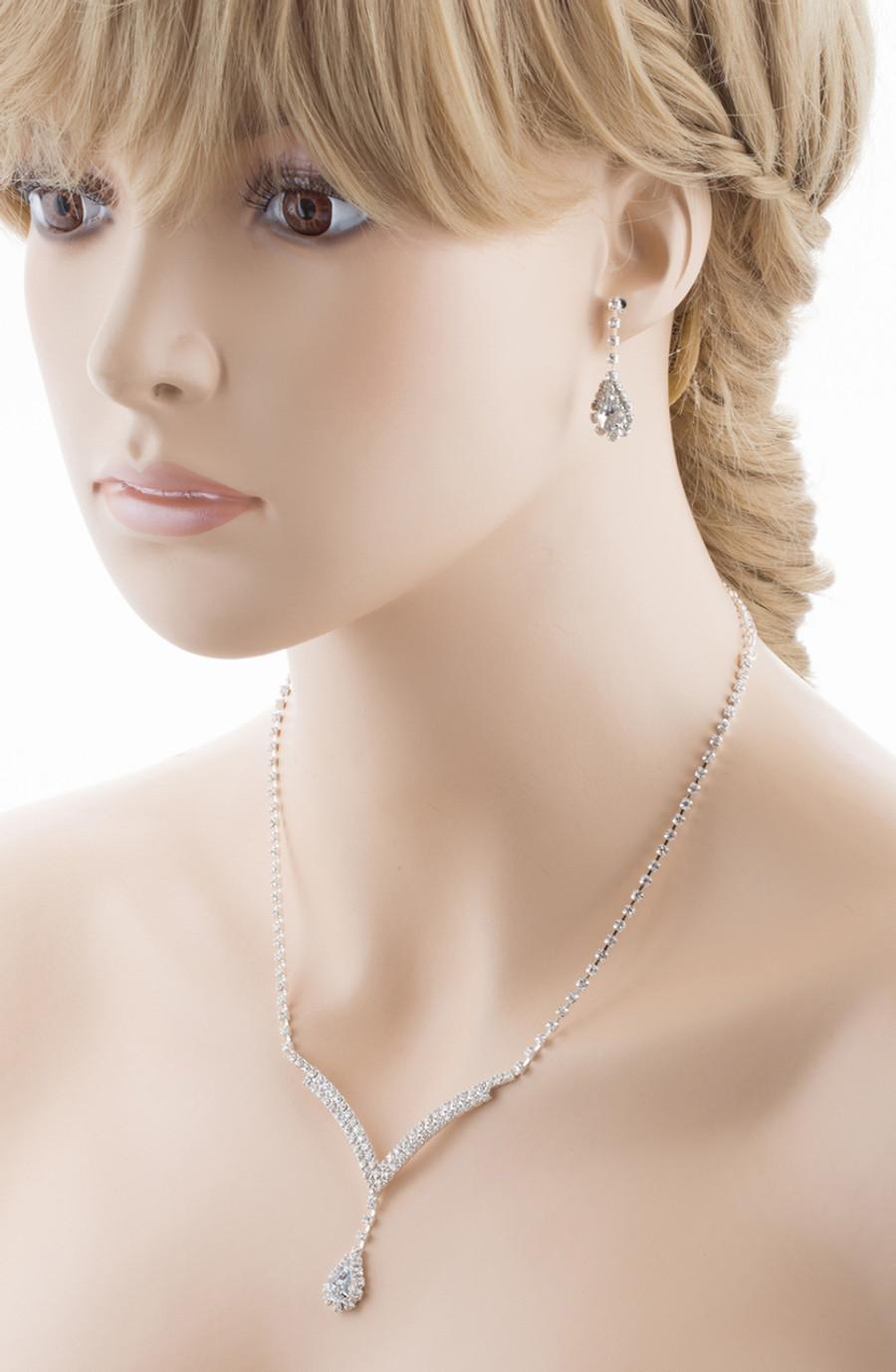 Bridal Wedding Jewelry Set Necklace Earring Crystal Rhinestone LG V Drop Silver