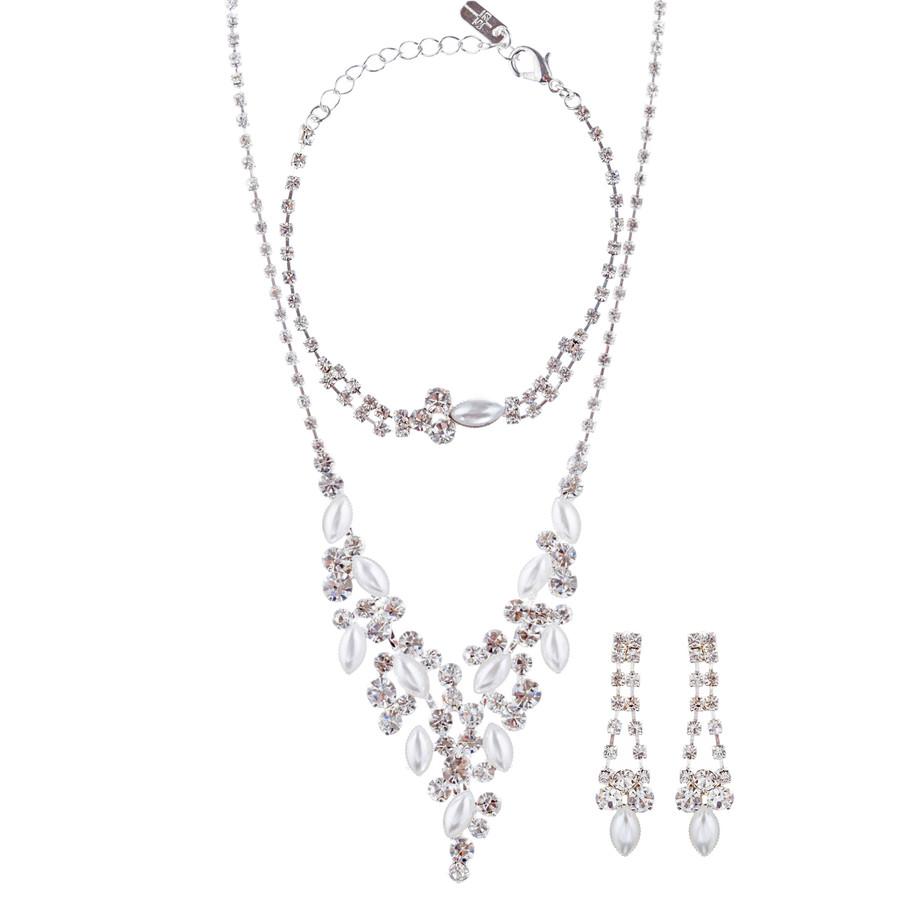 Bridal Wedding Jewelry Crystal Rhinestone Elegant Necklace Set J426 Silver