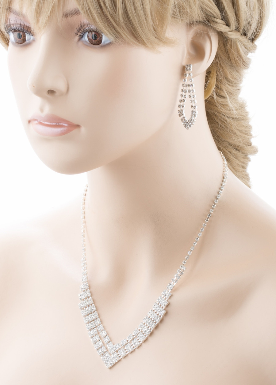 Bridal Wedding Jewelry Set Prom Crystal Rhinestone Modern Necklace J457 SV