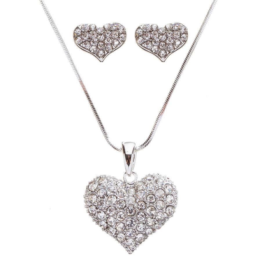 Lovely Sweet Beautiful Heart Shape Valentine's Day Necklace Set JN166 Silver