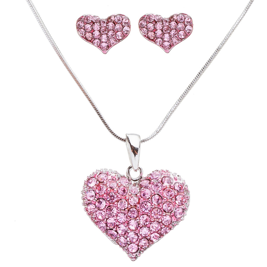 Lovely Sweet Beautiful Heart Shape Valentine's Day Necklace Set JN166 Pink