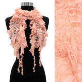 Floral Lace Elastic Ruffle Light Fashion Scarf Pink