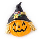 Halloween Jewelry Orange Pumpkin Scarecrow Brooch Pin