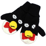 Knitted Fun 3D Animal Soft Mittens Gloves Black Penguin