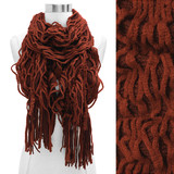 Double Layered Two Tone Ruffle Fringed Cold Weather Fashion Scarf Rust