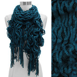 Double Layered Two Tone Ruffle Fringed Cold Weather Fashion Scarf Teal