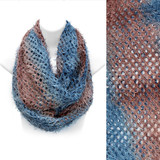 Duo Tone Ombre Furry Loop Infinity Beautiful Fashion Scarf Brown Blue