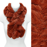 Solid Soft Faux Rabbit Fur Ruffle Pull Through Cold Weather Fashion Scarf Rust