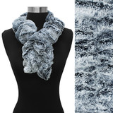 Duo Tone Soft Faux Fur Ruffle Side Pull Through Fashion Scarf White Black Gray
