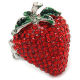 Strawberry Fruit Crystal Rhinestone Fun Big Sparkling Fashion Stretch Ring Red