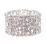 Bridal Wedding Jewelry Set Crystal Rhinestone Stunning Wide Stretch Bracelet SV