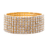Bridal Wedding Jewelry Crystal Rhinestone Glitter Wide Stretch Bracelet Gold