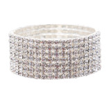 Bridal Wedding Jewelry Crystal Rhinestone Glitter Wide Stretch Bracelet Silver