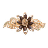 Beautiful Fashion Women Crystal Rhinestone Floral Hair Barrette Clip Gold Brown
