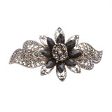 Beautiful Fashion Women Crystal Rhinestone Floral Hair Barrette Clip Black