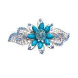 Beautiful Fashion Women Crystal Rhinestone Floral Hair Barrette Clip Blue