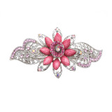 Beautiful Fashion Women Crystal Rhinestone Floral Hair Barrette Clip Pink