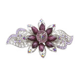 Beautiful Fashion Women Crystal Rhinestone Floral Hair Barrette Clip Purple