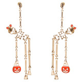 Halloween Costume Jewelry Crystal Hanging Skeleton Pumpkin Earrings Gold