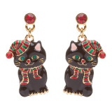 Christmas Jewelry Crystal Rhinestone Cute Santa Hat Black Cat Charm Earrings