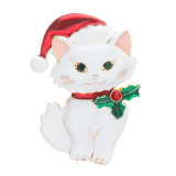 Christmas Jewelry Crystal Rhinestone Cute Santa Hat White Cat Charm Brooch Pin