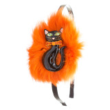 Halloween Costume Jewelry Fun Crystal Rhinestone Fuzzy Fur Black Cat Headband