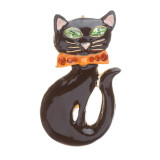 Halloween Costume Jewelry Rhinestone Bow Tie Enamel Black Cat Fashion Brooch Pin
