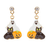 Halloween Costume Jewelry Rhinestone Enamel Pumpkin Ghost Black Cat Earrings