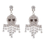 Halloween Costume Jewelry Rhinestone Sparkle Glitter Ghost Charm Dangle Earrings