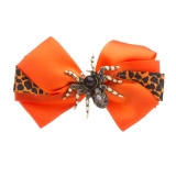 Halloween Costume Jewelry Rhinestone Spider Bow Accent Hair Barrette Clip Orange