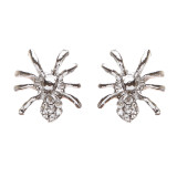 Halloween Costume Jewelry Rhinestone Spider Stud Style Fashion Earrings Silver