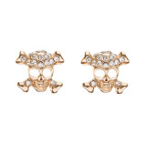 Halloween Costume Jewelry Rhinestone Skull Cross Bone Fashion Earrings Gold