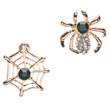 Halloween Costume Jewelry Rhinestone Spider Web Stud Post Fashion Earrings Gold