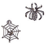 Halloween Costume Jewelry Rhinestone Spider Web Stud Post Fashion Earrings Black