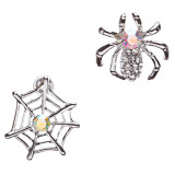 Halloween Costume Jewelry Rhinestone Spider Web Stud Post Fashion Earrings Silve