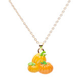 Halloween Costume Jewelry Enamel Pumpkins Charm Fall Festival Necklace Orange