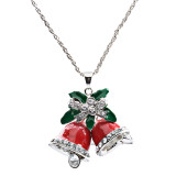 Christmas Jewelry Happy Holiday Spirit Crystal Red Bells Ribbon Charm Necklace