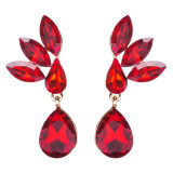 Gorgeous Chic Unique Simple Bridal Teardrop Dangle Fashion Earrings Gold Red