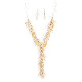 Classic Stylish Beautiful Formica Y Drop Simple Statement Necklace Set Peach