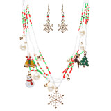 Christmas Jewelry Snowflake Rudolph Snowman Tree Charms Necklace Set JN266 GD