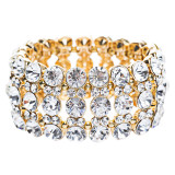 Bridal Wedding Jewelry Crystal Rhinestone Striking Rows Stretch Bracelet Gold