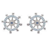 Fashion Jewelry Crystal Rhinestone Ocean Inspired Wheel Earrings Silver